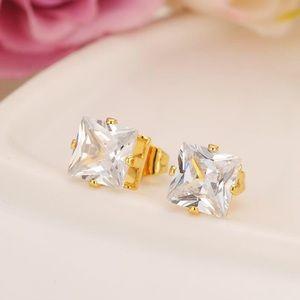 14k Gold Filled CZ Diamond Stud Earrings